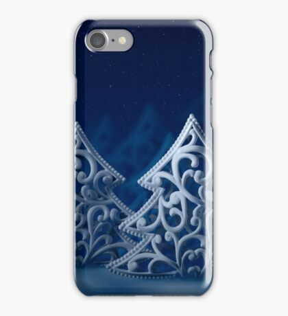Three white Christmas trees, night forest, moonlight, stars and snow iPhone Case/Skin