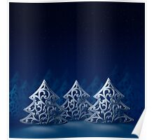 Three white Christmas trees, night forest, moonlight, stars and snow Poster