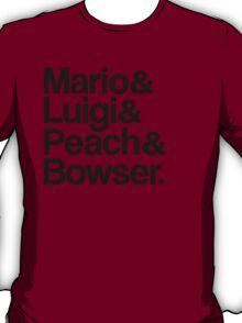 Mario & Luigi & Peach & Bowser - Black T-Shirt