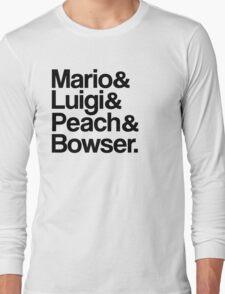 Mario & Luigi & Peach & Bowser - Black Long Sleeve T-Shirt