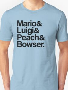 Mario & Luigi & Peach & Bowser - Black T-Shirt