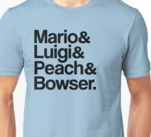 Mario & Luigi & Peach & Bowser - Black Unisex T-Shirt