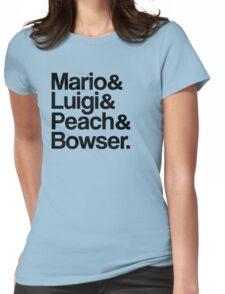 Mario & Luigi & Peach & Bowser - Black Womens Fitted T-Shirt
