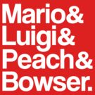 Mario & Luigi & Peach & Bowser - White by ScottW93
