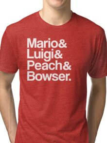 Mario & Luigi & Peach & Bowser - White Tri-blend T-Shirt
