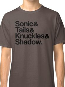 Sonic & Tails & Knuckles & Shadow - Black Classic T-Shirt