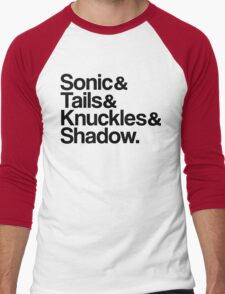 Sonic & Tails & Knuckles & Shadow - Black Men's Baseball ¾ T-Shirt