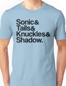 Sonic & Tails & Knuckles & Shadow - Black Unisex T-Shirt