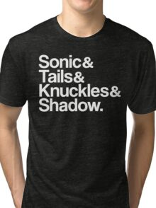 Sonic & Tails & Knuckles & Shadow - White Tri-blend T-Shirt