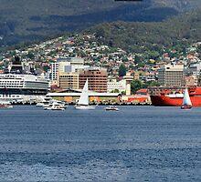 Aurora Australia - sail pass Hobart Tasmania  by PaulWJewell