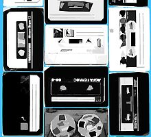 Retro Cassette Tapes in Black & White with extra color by HighDesign