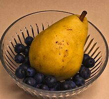 Pear with Blueberries by Jay Gross