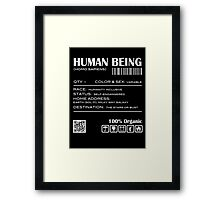 Human Being Shipping Label Framed Print