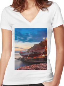 A rowboat at Anadolufeneri Bay Women's Fitted V-Neck T-Shirt