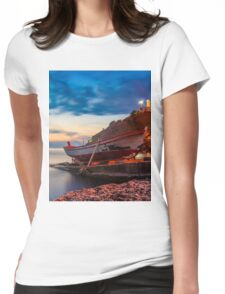 A rowboat at Anadolufeneri Bay Womens Fitted T-Shirt