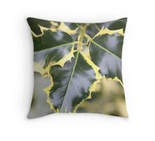 Trio Holly Leaves Throw Pillow