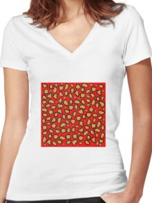 Cheetah Print - Red Women's Fitted V-Neck T-Shirt
