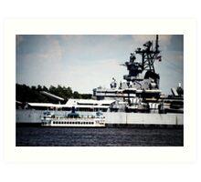 Battleship NJ and Ferry Art Print