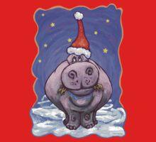 Hippopotamus Christmas Kids Tee