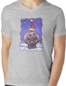 Hippopotamus Christmas Mens V-Neck T-Shirt