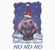Hippopotamus Christmas Card One Piece - Short Sleeve