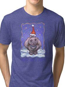 Hippopotamus Christmas Card Tri-blend T-Shirt