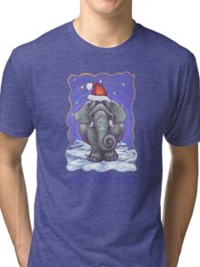 Elephant Christmas Card Tri-blend T-Shirt
