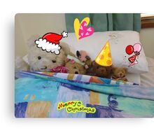 Christmas Greetings,waiting for Santa,  from The Bears  Canvas Print