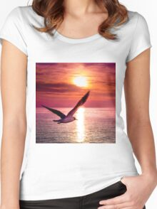 A seagull flying towards sunset Women's Fitted Scoop T-Shirt