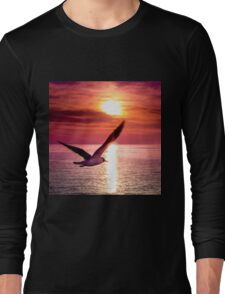 A seagull flying towards sunset Long Sleeve T-Shirt