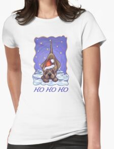 Hound Dog Christmas Card Womens Fitted T-Shirt