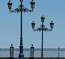 Lamps on the Triana Bridge, Seville by Sue Purveur