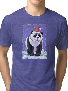 Panda Bear Christmas Card Tri-blend T-Shirt