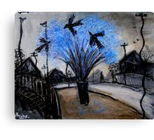 crows in the jacaranda Canvas Print