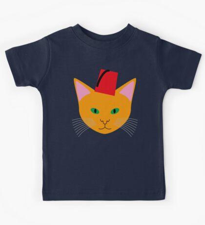 Cat Wearing a Fez Kids Tee
