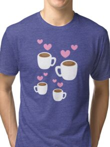 Coffee cups group with love hearts cute! Tri-blend T-Shirt