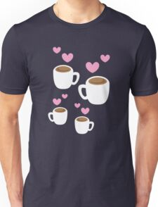Coffee cups group with love hearts cute! Unisex T-Shirt