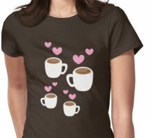 Coffee cups group with love hearts cute! Womens Fitted T-Shirt