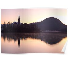 Sunrise over Lake Bled Poster