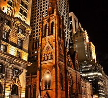 USA. New York. Manhattan. Church at night. by vadim19