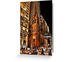 USA. New York. Manhattan. Church at night. Greeting Card