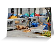 sweeping up Occupy Philly Greeting Card