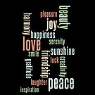 Love & Peace Word Cloud iPhone Case - Black by Hilda Rytteke