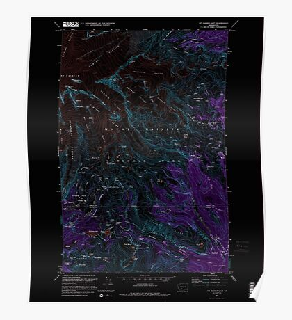 USGS Topo Map Washington State WA Mt Rainier East 242653 1971 24000 Inverted Poster
