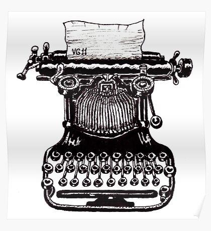 Vintage Typewriter black and white pen ink drawing Poster