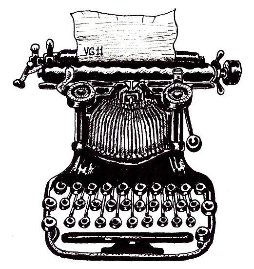 Vintage Typewriter black and white pen ink drawing by Vitaliy Gonikman