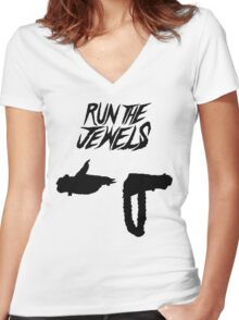 Run the Jewels Silhouette Black Women's Fitted V-Neck T-Shirt