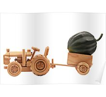 Toy tractor with green pumpkin. Poster