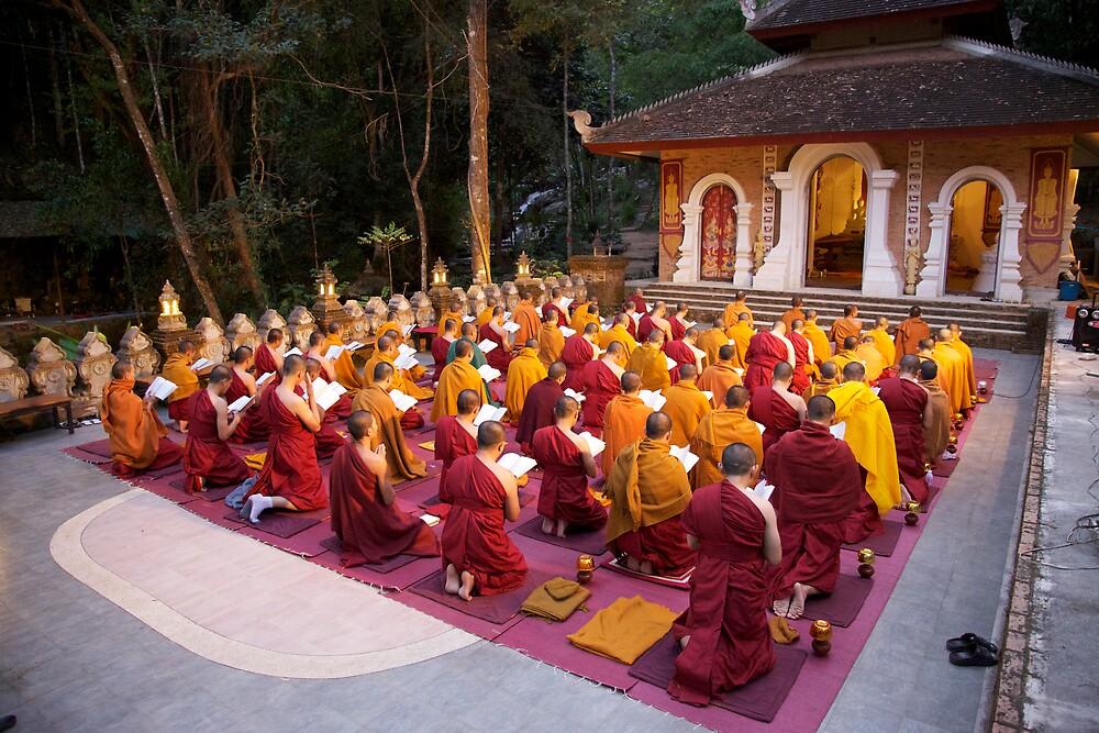 Evening chanting, Wat Palad, Chiang Mai, Thaiiand by John Spies
