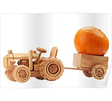 Toy tractor with orange pumpkin. Poster